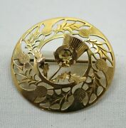 1950's Vintage Lovely 9 Carat Gold And Citrine Scottish Thistle Brooch