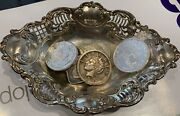Silver Bullion Rounds And Bar And Vintage Silver Candy Dish Kennedy Half Dollars