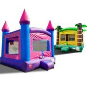 Inflatable Bounce House Duo Tropical And Pink Moonwalk Castle With Two Blowers