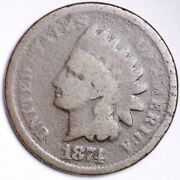 1874 Indian Head Small Cent Choice G Free Shipping E124 Xm
