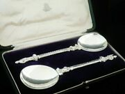 Pair Cased Large Sterling Silver Apostle Spoons London 1880 Robert Humphries
