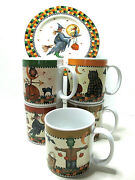 6 Pc Set Of Debbie Mumm Halloween Collectors 5mugs And 1plate-excellent Cond