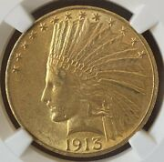 1913 Gold 10 Indian Ngc Ms61