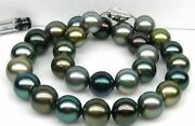 Huge 1812-15mm South Sea Black Multucolor Round Pearl Necklace Good Luster