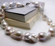 1825-30mm Natural South Sea White Baroque Pearl Necklace