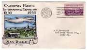 773 California Pacific Exposition Dorothy Knapp Hand Painted 1935 Fdc - Unique