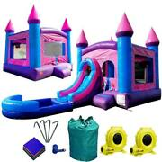 Inflatable Bounce House Combo Pink Blue Wet Dry Slide With Pool Vinyl