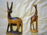 African Hand Carved Giraffe Statues Set Of 2andnbsp