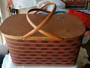 Vintage Hawkeye Wicker/wood Picnic Basket/pie Tray. Rare Red And Brown Color.
