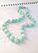 Old Carved Burmese Jade Round Beads Necklaces