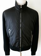 Tom Ford Black Wool Padded With Lamb Leather Trim Bomber Jacket 56 Euro Xl