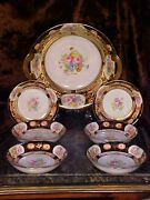 Fab Antique Nippon Large Bowl Gold Plate Handles +6 Smaller Bowls Beautiful Set