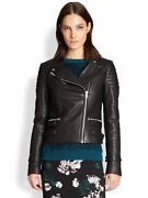 A.l.c. Biker Moto Hooded Quilted Black Leather Jacket Us Size 10 Sold Out