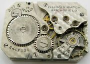 Illinois 207 Early Wrist Watch Movement 17 Jewels For Parts