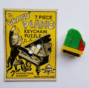 Grand Piano Vintage 1953 Uk Bell Plastic Keychain Puzzle With Solution Card