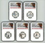 2018 S Silver Quarters Set 25c Reverse Proof Ngc Pf70 Early Releases Trolley R6