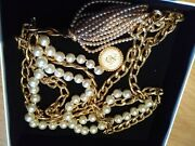 - Collectors Vintage Belt With Large Pearls Medallion And Pearl Tassel