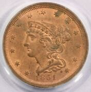 1851 Braided Hair Half Cent Pcgs Ms63rd Ms63 Rd Sweet Old Green Holder Ogh