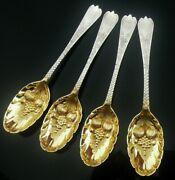 4 Cased Antique Sterling Silver Berry Spoons, Pentecost Symonds Plymouth 1740