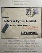 1938 Tenerife Spain Airmail Censored Commercial Cover To Liverpool England