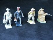 Lot Of 4 Lead Figure Red Cap Porter African American - Business - Cowboy - Wwi