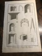 Large Antique 1751 Art Engraving Etching Stone Masonry Architecture Diderot