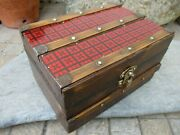 Vintage Beautiful Trunk Chest Hinged Box In Wood Cover Tin Lined