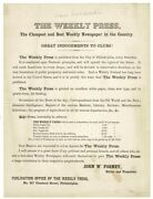 John W Forney / Weekly Press The Cheapest And Best Weekly Newspaper 1857