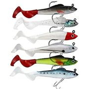 Lures For Bass Jig Head Soft Swimbait 6-pack Colors Plastic Bait Fishing Sports