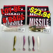 """Lot Of 6 Bags - Shockwave 3.5 From Missile Baits – 3.5"""" Minnow Shaped Swim Bait"""