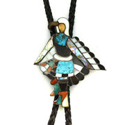Zuni Eagle Dancer Bolo Tie Attributed To Red Leekela, C. 1950s-60s