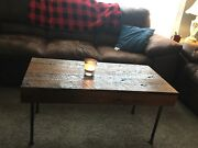Handcrafted Rustic Reclaimed Oak Coffee Table - Country Farmhouse - Made In Usa