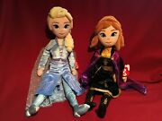 16 Inch Frozen 2 Queen Elsa And Princess Anna Plush Doll Set New Ty Sparkle