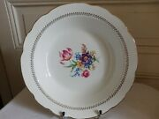Earthenware Gien Large Soup Plate Service Florence Decor Floral Painted And Gilt