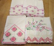 Vintage Lot Of 4 Pillowcases - 1940and039s-50and039s Cotton-hand Crochet And Embroidery- Vgc