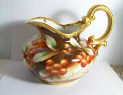 Antique Limoges Painted Cherries Pitcher Signed O.w. Goess Pickard Artist