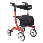 Drive Medical Nitro Euro Style Rollator Rolling Walker Tall Red