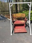 Ferris Wheel Seat With Spindled Back Original Paint Applied Scrollwork And 8andnbsp