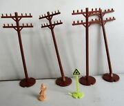 4- Vintage Ho Train Telegraph Poles + Figurine + Crossing Sign. Preowned.