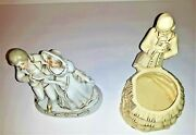 Two Made In Japan Colonial Figurines One Male Female Grey/green Color Figurine