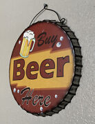Sign Buy Beer Here - Vintage Looking Tin Battery Operated 13 Sign With Lights