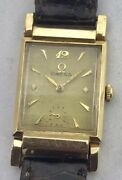 Vintage Omega Solid Gold Rectangular Case Driver Watch Swivel Lugs Prof. Srvcand039d