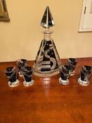 Antique Czech Engraved Crystal Glass Decanter And 6 Shot Glass Set