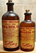 Vintage Medicine Hand Crafted Bottle, 2 Cannabis,bottles Are Real, Label Copied