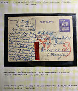 1942 Gg Germany Kosow Ghetto Postcard Cover To Paris France L Rudy