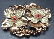 Coro Antique Gold Plated Rhinestone Flower Duette Clips Pin