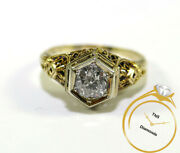 Antique 1920-1930and039s 14k Yellow Gold Diamond Ring