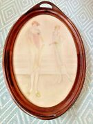 Antique Hand-painted Wood Tray With Flappers On Front And Glass Overlay 1920's
