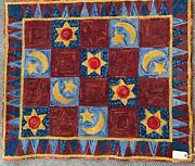 Rug Hand Woven And Dyed 100 Wool 38 X 32.5 Sunmoon And Stars