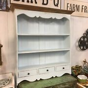 Wooden Three Shelf Wall Cupboard Drawer Light Blue Stained Top Antique Style